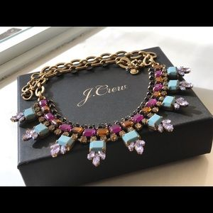 🔥NIB JCrew BlueToneMulticolor Statement Necklace